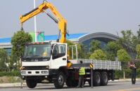 Isuzu truck with crane