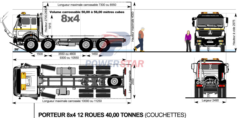 Petrol Tanker Truck Beiben (30,000 Liters) technical drawing