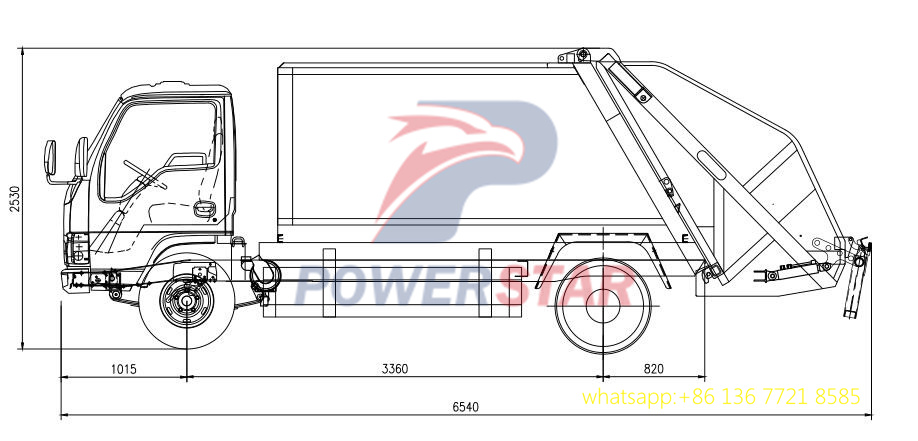 5cbm garbage compactor truck body kit up structure