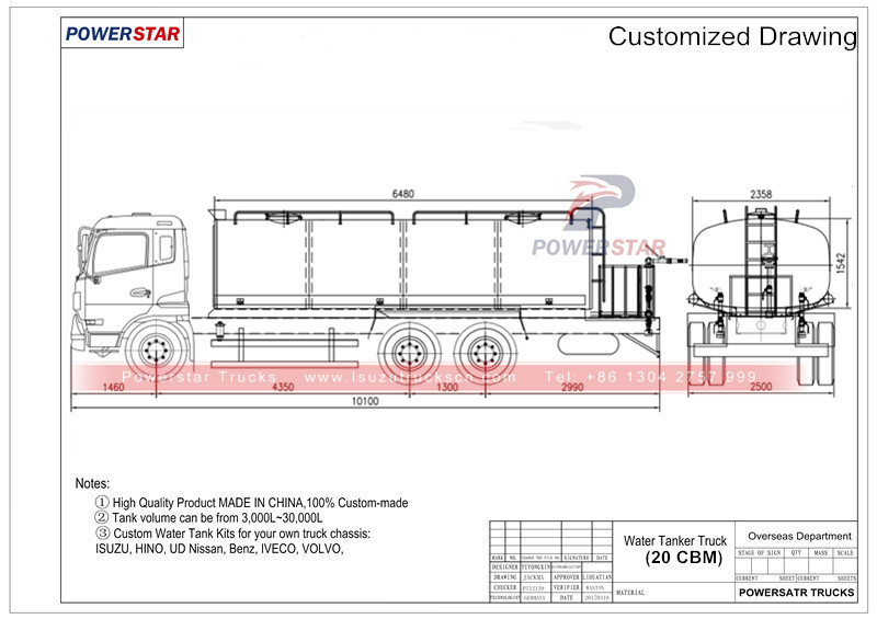 technical drawing for 20cbm street sprinkler Isuzu Street bowser truck