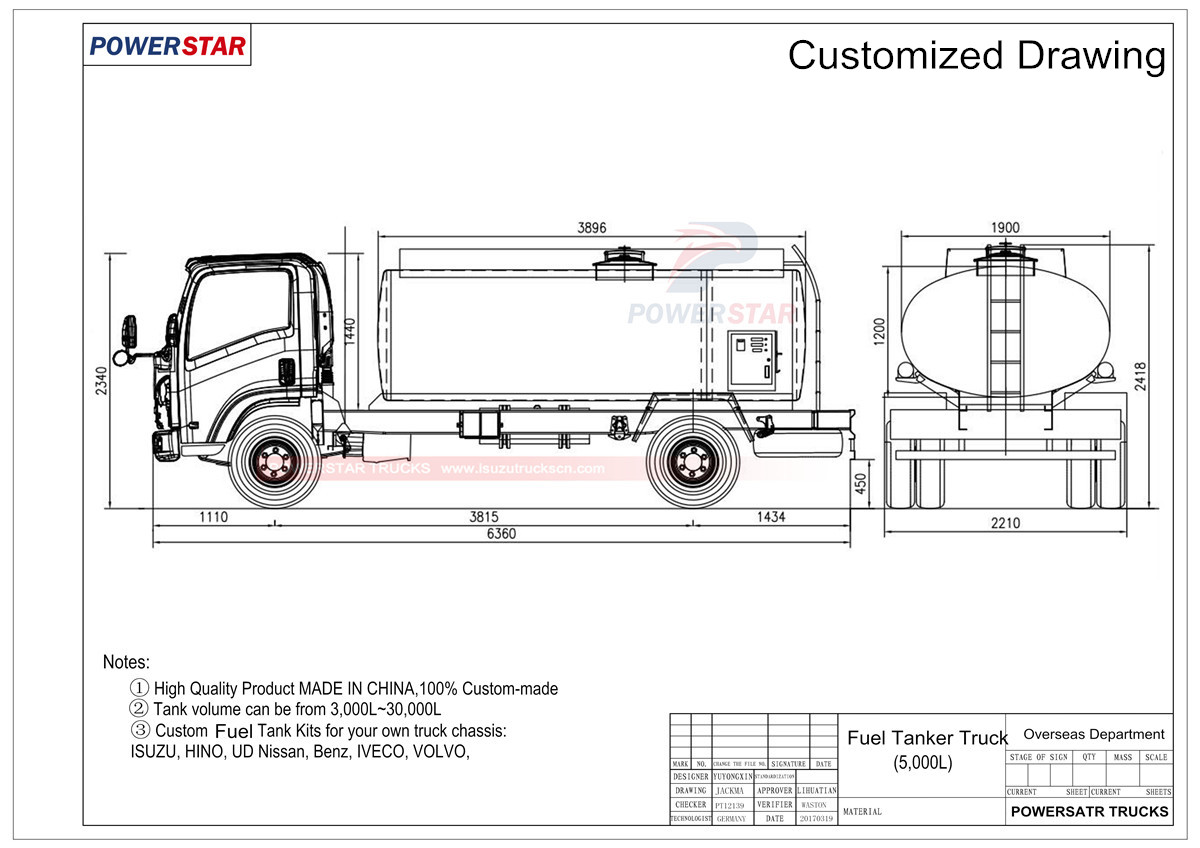 Technical drawing for Isuzu Mobile Refueling Tank Truck 3,000LFuel Tanker Isuzu Oil Delivery Truck 4,000L