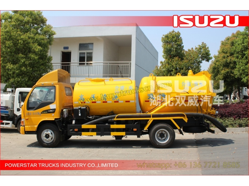 japanese NKR ELF FTR 6000Liter Isuzu Sewer Cleaning Combination Vacuum Jetting Trucks